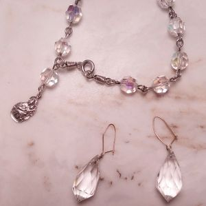 Crystal SS religious bracelet with Crystal earings